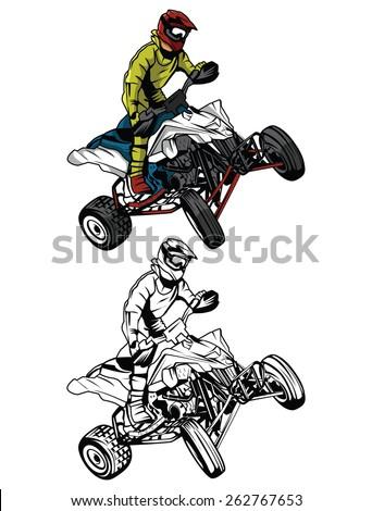 coloring book atv moto rider
