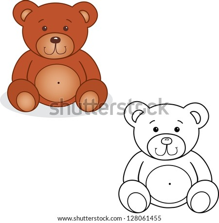 coloring book bear toy vector