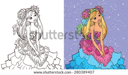 Coloring book.Beautiful fashion girl in a dress looked like a flower Stock photo ©