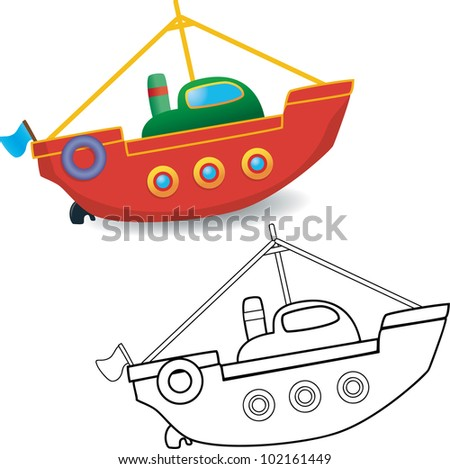 Coloring book. Boat toy on white background - vector illustration.