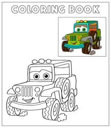 Coloring Book, Cartoon Vector Illustration of Black and White Cars. Illustration for the children, coloring page with green cartoon car. Doodle Comic Characters Machine for Children Education