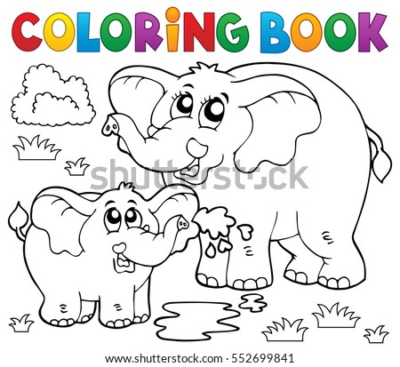 Coloring book cheerful elephants - eps10 vector illustration.