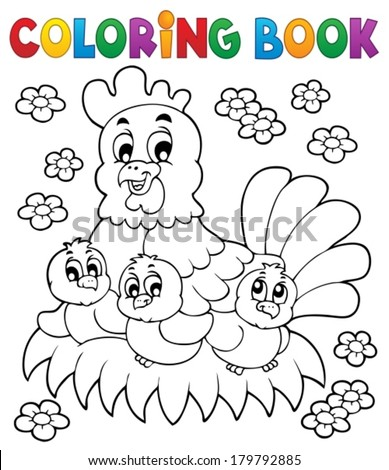 coloring book chicken theme 1