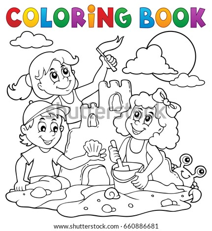 coloring book children and sand
