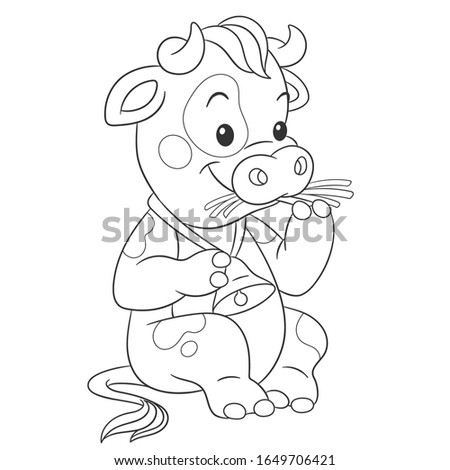 Coloring book. Colouring picture with cow. Cartoon outlined design for nursery poster, t shirt print, kids apparel, greeting card with cute animals. Stok fotoğraf ©