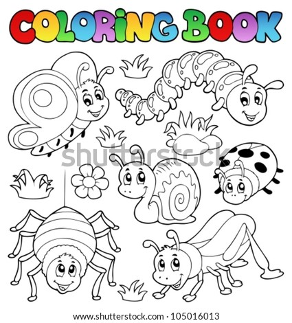 Stock Photo Coloring book cute bugs 1 - vector illustration.