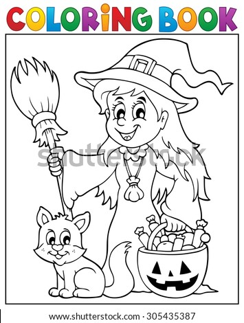 coloring book cute witch and