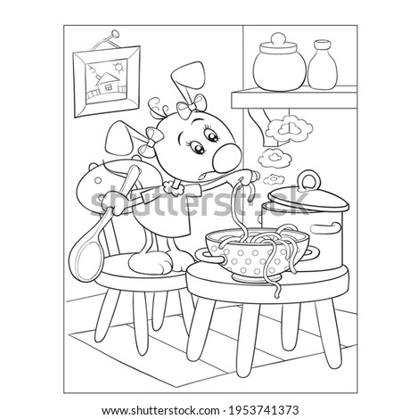 coloring book, dog character cooking soup in the kitchen, isolated object on white background, vector illustration, cartoon illustration, eps Сток-фото ©
