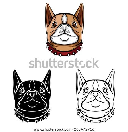 Coloring book Dog Head cartoon character | EZ Canvas
