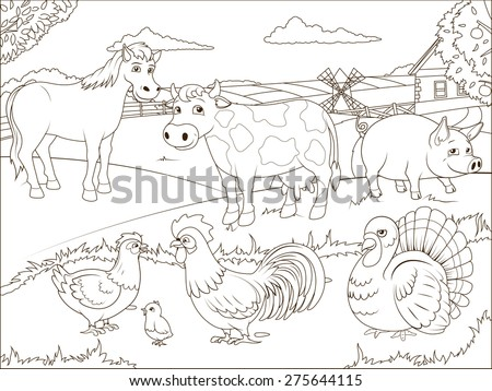 coloring book farm cartoon