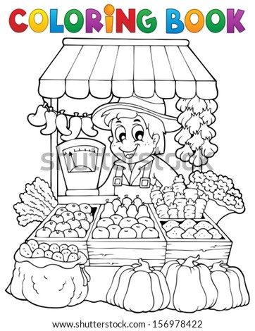 coloring book farmer theme 2 eps10 vector illustration
