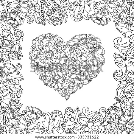 coloring book for adult and older children coloring page with vintage flowers pattern heart