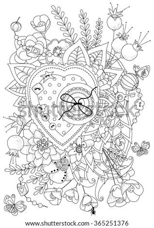 Valentine coloring pages for older kids ~ Coloring Book For Adult And Older Children. Vector ...