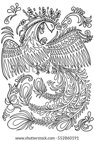 Coloring Book For Adults Fantastic Bird Black White Vector Illustration Zentangle Boho