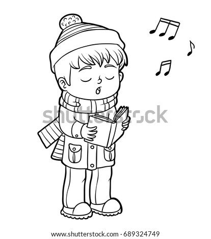 Coloring book for children, Boy singing a Christmas song