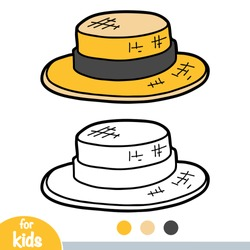 Coloring book for children, cartoon headwear, Boater hat