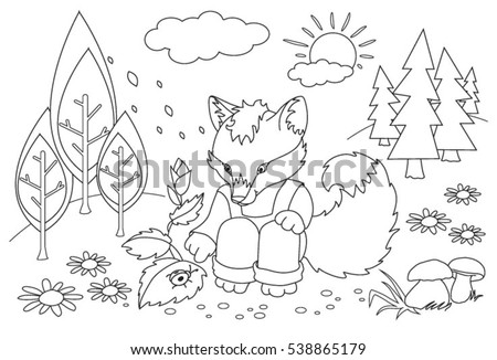 Coloring Book For Children Fox In The Forest