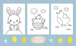 Coloring book for children - Happy Easter. Children Easter Activity page. Spring Easter worksheets