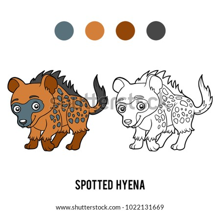 Coloring book for children, Spotted hyena