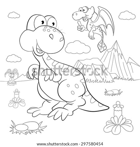 coloring book funny dinosaurs