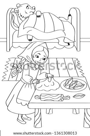 coloring book girl and bear
