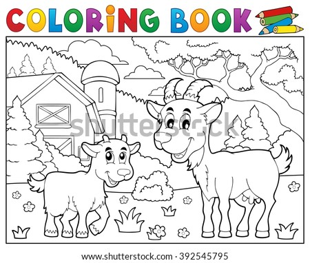 Coloring book happy goats near farm - eps10 vector illustration.