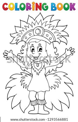 Coloring book happy samba dancer theme 1 - eps10 vector illustration.