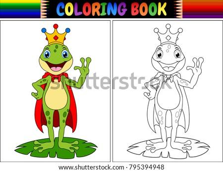 Coloring book king frog cartoon