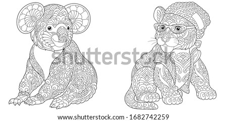 Coloring book. Koala bear and tiger in hipster clothes. Line art design for adult or kids colouring page in zentangle style. Vector illustration.