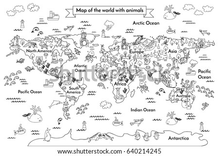 coloring book map of the world