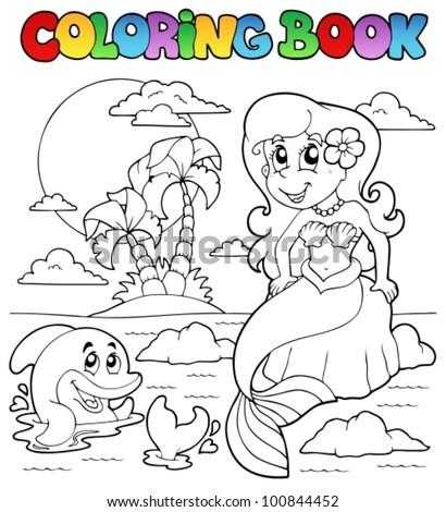 coloring book ocean and mermaid