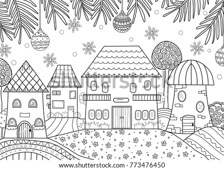 Coloring Book Of Winter Season Home For Adult And Kids Vector Illustration Doodle Style
