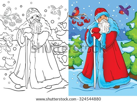 coloring book or cartoon illustration of father frost from russian fairy tales for children