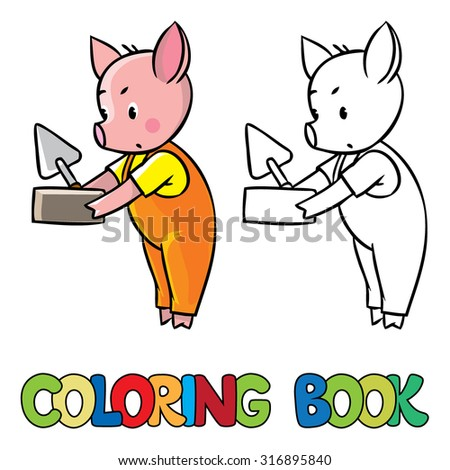 Coloring book or coloring picture of little piglet in orange overall with brick and trowel. Zdjęcia stock ©