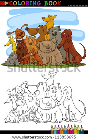 Coloring Book or Page Cartoon Illustration of Cute Dogs Group for Children