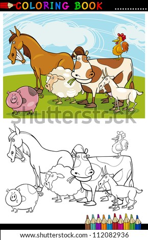 Coloring Book or Page Cartoon Illustration of Funny Farm and Livestock Animals for Children Education