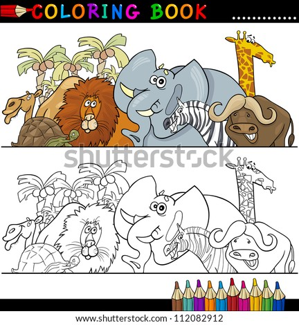 Coloring Book or Page Cartoon Illustration of Funny Wild and Safari Animals for Children Education