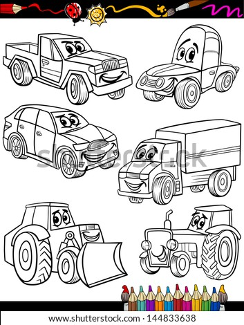 Coloring Book or Page Cartoon Vector Illustration of Black and White Cars or Trucks Vehicles and Machines Comic Characters Set for Children Education
