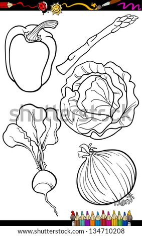 Coloring Book or Page Cartoon Vector Illustration of Black and White Vegetables Food Objects Set