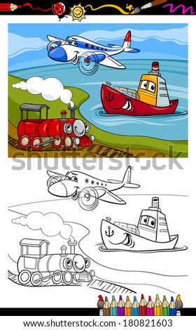 Coloring Book or Page Cartoon Vector Illustration of Cute Plane and Train and Ship Transport Comic Characters for Children