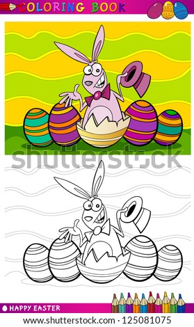 Coloring Book or Page Cartoon Vector Illustration of Easter Bunny with Hat hatched from egg and Painted Eggs