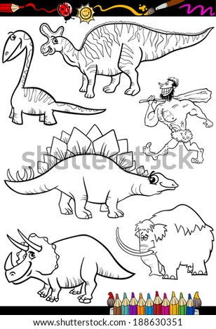 Coloring Book or Page Cartoon Vector Illustration Set of Black and White Dinosaurs and Prehistoric Animals Characters for Children