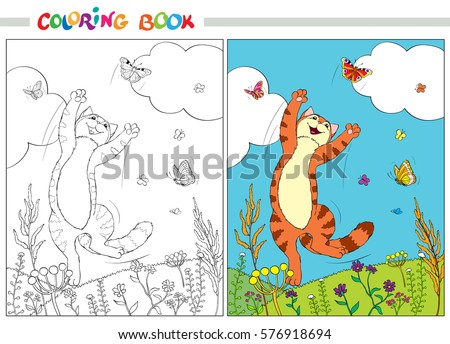 coloring book or page red cat