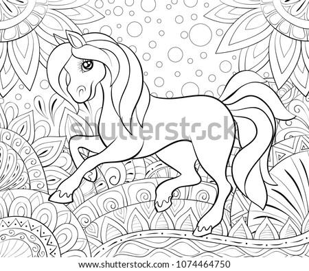 coloring book page a cute horse