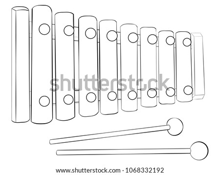 Coloring Bookpage A Xylophone Image For ChildrenLine Art Style Illustration Relaxing