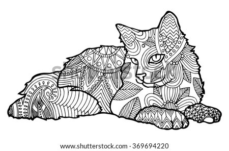 Coloring Book Page For Adults Bohemian Style Cat