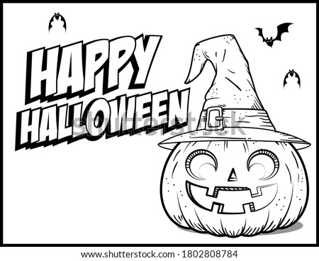 Coloring book page for Halloween - Coloring page- Black and White Cartoon Illustration.