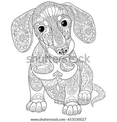 coloring book page of dachshund