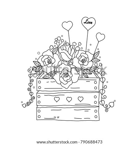 coloring book page of flower