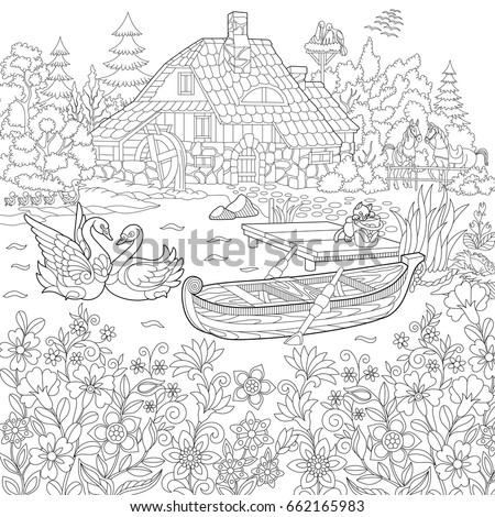 coloring book page of rural